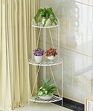 ZHANWEI Blumenständer Iron Plant Stand Multi - Layer Boden Falten Blumentopf Regal Blume Rack Für Balkon Wohnzimmer Indoor Blumenregal ( Farbe : Weiß , größe : C )