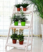 ZHANWEI Blumenständer Massivholz-Blumen-Racks Außen-Balkon Wohnzimmer-Leiter Drei-Ebenen Falten-Blumentopf-Rack Grün und Weiß Blumenregal ( Farbe : B , größe : 46*92cm )
