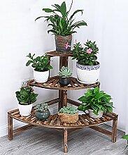 ZHANWEI Blumenständer Massivholz-Blumen-Racks Pastorale Kreativität Anti-Korrosions-Leiter Blumentopf-Rack Carbon-Backen Farbe Blumenregal