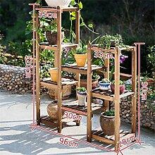 ZHANWEI Blumenständer Massivholzkombination Blumenregal Boden - Stil Mehrgeschoss Töpfe Regal Balkon Wohnzimmer Innenblume Racks Blumenregal ( größe : E )