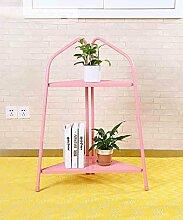 ZHANWEI Blumenständer Moderne Eisen Mehrstöckige Boden Pflanze Stand Blumentöpfe Regal Blume Rack Für Balkon Wohnzimmer Indoor Grün, Rosa, Gelb Blumenregal ( Farbe : Pink , größe : 88cm )