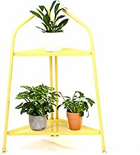 ZHANWEI Blumenständer Moderne Eisen Mehrstöckige Boden Pflanze Stand Blumentöpfe Regal Blume Rack Für Balkon Wohnzimmer Indoor Grün, Rosa, Gelb Blumenregal ( Farbe : Gelb , größe : 88cm )
