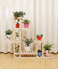 ZHANWEI Blumenständer Multi - Layer Massivholz Blumentopf Rahmen Karbonisierte Holz Hängende Korb Blumenständer Balkon Wohnzimmer Boden Pflanze Regale Blumenregal ( Farbe : B )