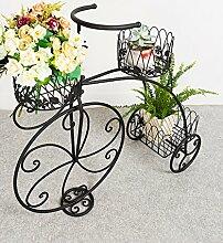 ZHANWEI Blumenständer Pflanze Stand Eisen Fenster Blumentopf Regal Europäische Fahrrad Pastoral Kreativ Blume Rack Messing, weiß, schwarz Blumenregal ( Farbe : Schwarz )