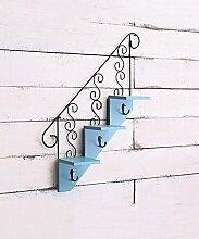 ZHANWEI Blumenständer Retro Eisen Wand hängende kreative Pflanze Stand Blumentopf Regal Blume Rack für Balkon Wohnzimmer Indoor blau, grün, weiß Blumenregal ( Farbe : Blau )