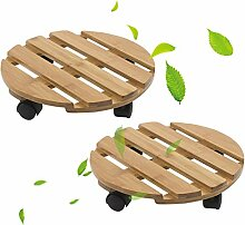 ZHANWEI Gartenregal Mit Mobile Universalrad Bambus