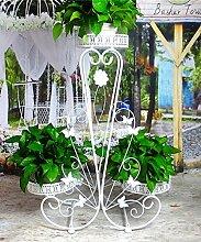 ZHANWEI Pflanzentreppe Blumenständer Blumentopf Regal Bügeleisen 2 Geschoß Pflanze Stand Wohnzimmer Balkon Innen Boden Blume Rack Blumenständer ( Farbe : Weiß )