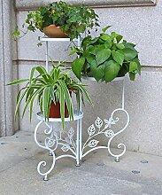 ZHANWEI Pflanzentreppe Blumenständer Eisen Blumentopf Regal Kreativ Pflanze Stand Wohnzimmer Balkon Indoor Flower Rack Blumenständer ( Farbe : Weiß )