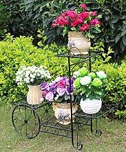 ZHANWEI Pflanzentreppe Eisen Blumen Racks Europäische Stil Wohnzimmer Balkon Vier Ebenen Leiter Blumentopf Rack Weiß und Schwarz Blumenständer ( Farbe : A , größe : 75*27*70cm )