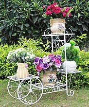 ZHANWEI Pflanzentreppe Eisen Blumen Racks Europäische Stil Wohnzimmer Balkon Vier Ebenen Leiter Blumentopf Rack Weiß und Schwarz Blumenständer ( Farbe : B , größe : 70*24*65cm )