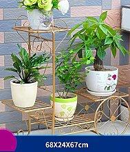 ZHANWEI Pflanzentreppe Eisen Blumenrahmen Europäische Wohnzimmer Blumentopf Rahmen Balkon Multi - Layer Falten Blume Regal Blumenständer ( Farbe : C , größe : 68cm )