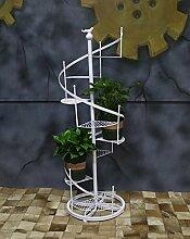 ZHANWEI Pflanzentreppe Europäischer Stil Blumenständer Rotierende Multilayer Blume Regal 1.2m Eisen Zaun Blumenständer