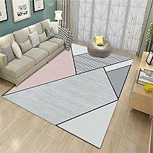 ZHAO Teppich Schlafzimmer Rosa Teppich mit
