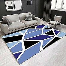 ZHAO Teppich Shaggy Blauer geometrischer Teppich