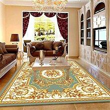 ZHAO Wohnzimmer Teppich goldene Blumenmuster mit