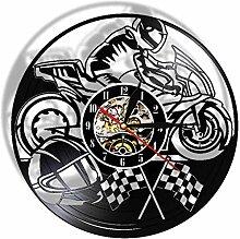 ZhaoCJB Wanduhr Racer Wandlampe Motorrad