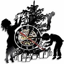ZhaoCJB Wanduhr Vinyl Wandlampe Uhr Handgemachte
