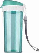 ZHAOJING Drop beständig tragbare kunststoffbecher große kapazität auslaufsichere tasse mit filterabdeckung kreative student sport tasse 450 ml ( Farbe : Blau )
