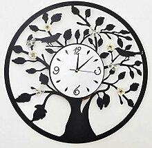 ZHAOJING Runde Wanduhr Wohnzimmer Mode Wanduhr Schmetterling Blume Stumm Uhr