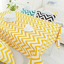 ZHAS Geometrie gelben Streifen ovale Tischdecke Couchtisch Tuch Leinwand Bilder Kunst und Literatur Tischdecke Tischdecke wählen (Color #5, Größe: 110*170 CM)