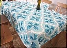 ZHAS Tischdecke Rechteck Blau und Grün Tischdecke frische Tischdecke Tuch Pflanze Blumen wählen (Farbe: A, Größe: 140*140 cm)