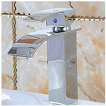 ZHAS Wasserfall Waschbecken Mischbatterie Chrom