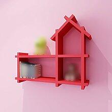ZHDC® Rack, Kinderzimmer Wanddekoration Paint Partition an der Wand Regal hängen Kreativ Kleines Haus Bücherregal Schrank Regal Gitter Starke Tragfähigkeit ( Farbe : Rot )