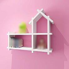 ZHDC® Rack, Kinderzimmer Wanddekoration Paint Partition an der Wand Regal hängen Kreativ Kleines Haus Bücherregal Schrank Regal Gitter Starke Tragfähigkeit ( Farbe : Weiß )