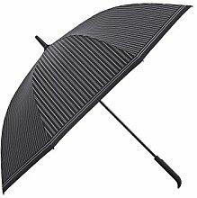 ZHDC® Umbrella, Stripe Men Commerce Langer Griff Erhöhen Windproof Doppelter Sonnenschutz Sonnenschirm ( Farbe : Schwarz )