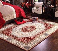 ZHDC® Wohnzimmer Couchtisch Teppich Chinesisch Amerikanisches Dorf Bettwäsche Decke Europäische Perser Einfach zu waschen Weich und bequem ( Farbe : Rot )
