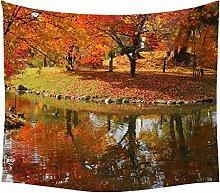 ZHEG Landschaft Tapisserie Ahorn Baum Brücke