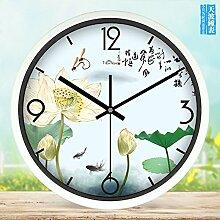 zhENfu Chinesischer Garten kunst Modern Creative Wohnzimmer Wall Clock Clock Persönlichkeit Schlafzimmer mute Quarz Uhren runde B