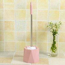 ZHFC bad wc bürste wc waschen die klobürste lange mit pinsel dekontamination base sauber weichen pinsel bürstenset,achteckige pink