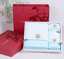 ZHFC baumwolle handtuch drei stück software adult liebhaber handtuch hochzeit geschenk hochzeit handtuch geschenk - box 130x67cm,blau