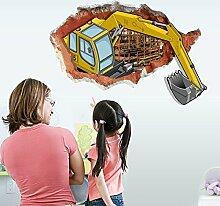 ZHFC- -pvc - dekorativen wand aufkleber 3d - bagger schlafzimmer, wohnzimmer kinderzimmer wand dekoration entfernen das wandgemälde 60 * 90cm