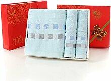 ZHFC Waschbecken Wasserhahn ZHFC handtuch adult hochzeit geburtstag hochzeit geschenk handtuch handtuch geschenk drei stück anzug,beige karierten blau
