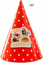 Zhhlaixing 12pcs Child Weihnachten Theme Party Hats Lovely Cone Xmas Decoration Paper Cap Funny Ornament Gif