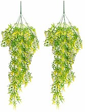 Zhhlaixing 2pcs Artificial Fake Hanging Vine Plant Leaves Garland Home Garden Wedding Wall Decoration 4270#