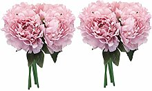 Zhhlaixing 2x 5 Heads Artificial Simulation Silk Peony Flower Bouquet Wedding Party Zuhause Decor