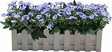 Zhhlaixing Artificial Silk Flowers Arrangement Fake Milan Flower in Picket Fence Pot Pack