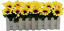 Zhhlaixing Artificial Sunflower in Wooden Picket Fence Pot Pack, Lifelike Leaves and Silk Flowers Artificial Flowers