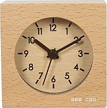 Zhhlaixing Handmade Wood Alarm Clock Home Classic Small Square Silent Table Clock