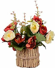 Zhhlaixing Prämie Quality Artificial Flowers with Retro Pots Bonsai Decoration