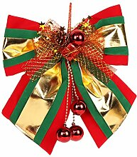 Zhhlaixing Red&Gold Big Bow Decoration for Christmas Large Tree Topper Garland