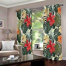 ZHHSJJ Verdunkelungsvorhang Tropische Blätter 2 x