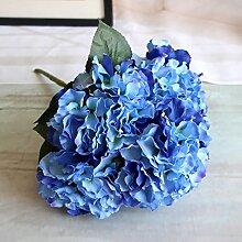 Zhi Jin 5Köpfe große Seide Mallorca Künstliche Hortensie Blumenstrauß Blumen lebensechte Fake Blatt Hochzeit Home Decor 2Stück dunkelblau