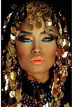 ZHINING Glitzernde goldene Make-up Frau Wandkunst