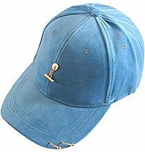ZHIRONG Kappe Weibliche Herbst- und Winter-Sonnenschutz-Baseballmütze Freizeit-gebogene Traufe Sun-Hut-Größe justierbare Farbe wahlweise freigestellt ( Farbe : Hellblau )