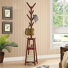 ZHIRONG Kleiderständer Fashion European Solid Wood Stand-Multifunktionslagerregal Kombination Kleiderbügel ( Farbe : Braun )