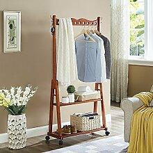 ZHIRONG Kleiderständer Massivholz Standschrank Kleiderbügel Mobil Schrank Lagerregal ( Farbe : Braun )